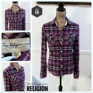 True Religion Purple Plaid Button down Size Small